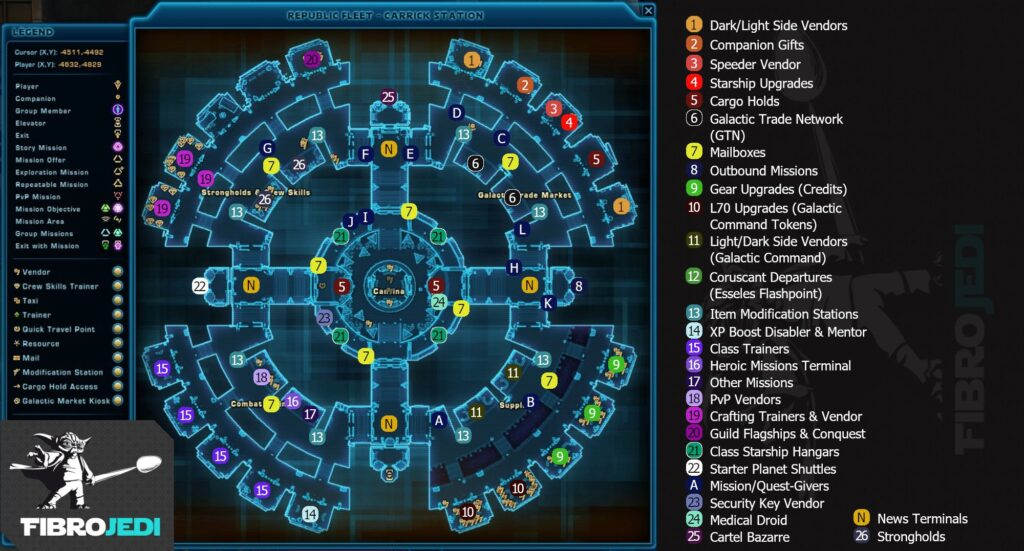 SWTOR Republic Fleet Map - Carrick Station