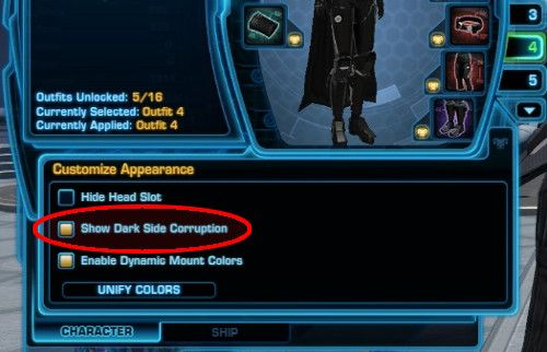The Show Dark Side corruption option in SWTOR can be found here on the Character Panel