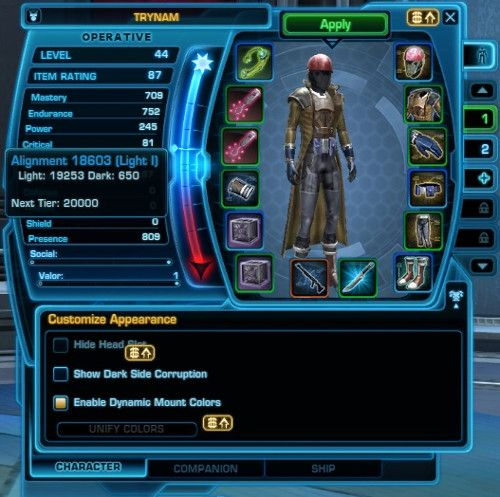 How to see how dark or light side your SWTOR Character is
