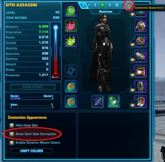How to show Dark Side Corruption in SWTOR from Update 6.0