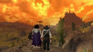 StopAndStare - Myrlas and Lamuna in a deep Orange Dusk over the Lone Lands in LOTRO