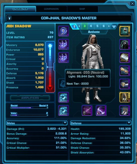 You can find your Force Alignment in SWTOR from the Character Panel