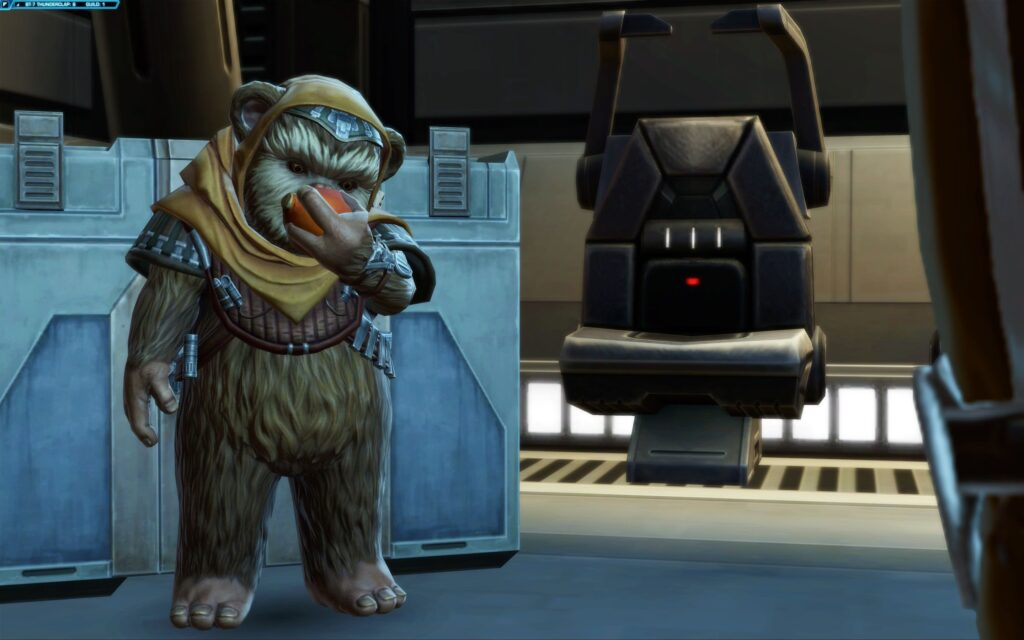 SWTOR's Treek eats an apple