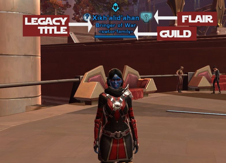 You can see the flair and legacy name over a SWTOR character's head when selected