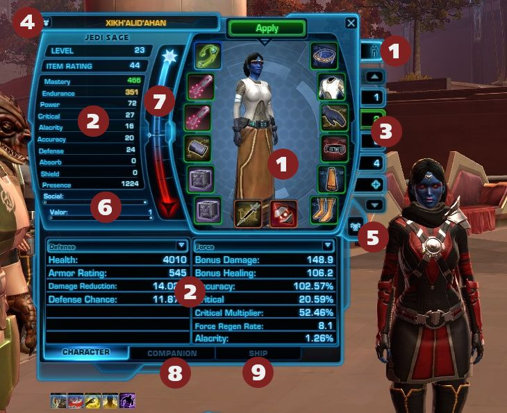 SWTOR Character Panel Features - with Number Labels