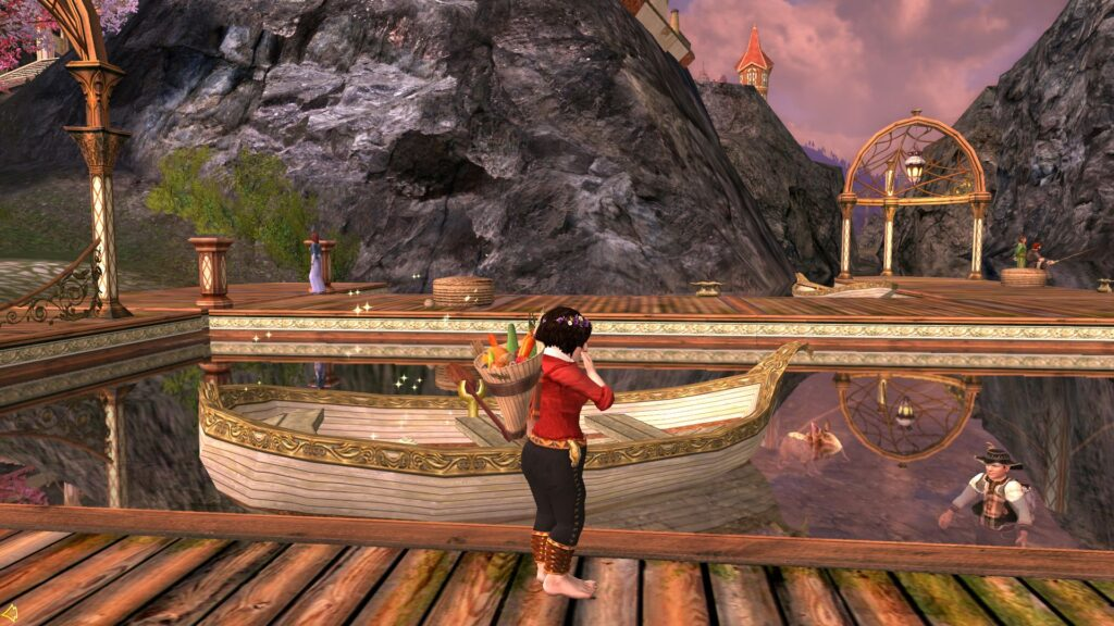 Lamuna laughs at Myrlas who fell in the water at Celondim!