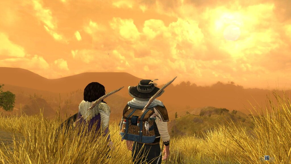 Myrlas and Lamuna in the Lone-Lands at Dusk, one way I do LOTRO Dualboxing