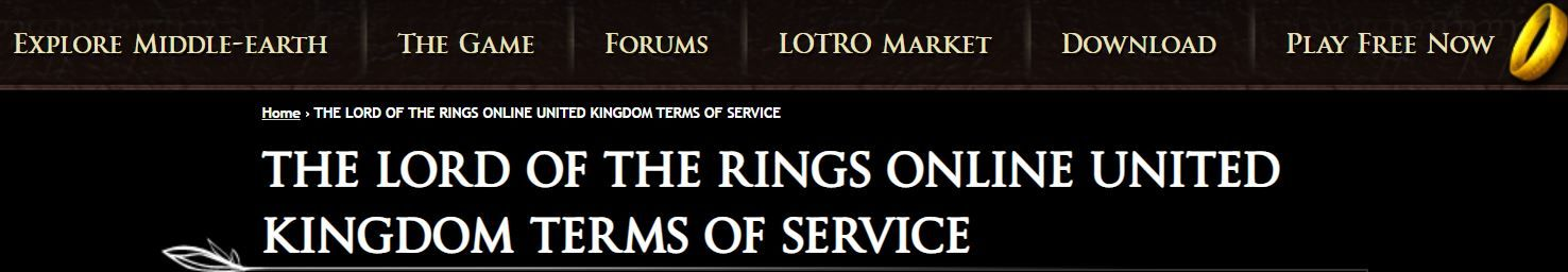 LOTRO Terms of Service - Click to Read Your Local One