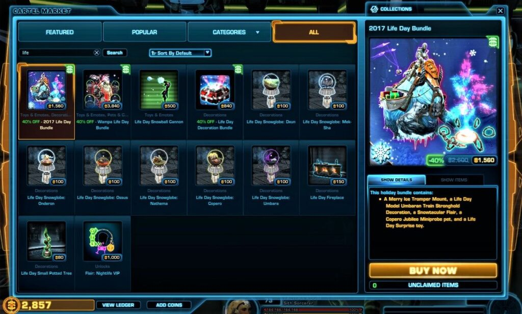 The Event-Limited Cartel Market Items available