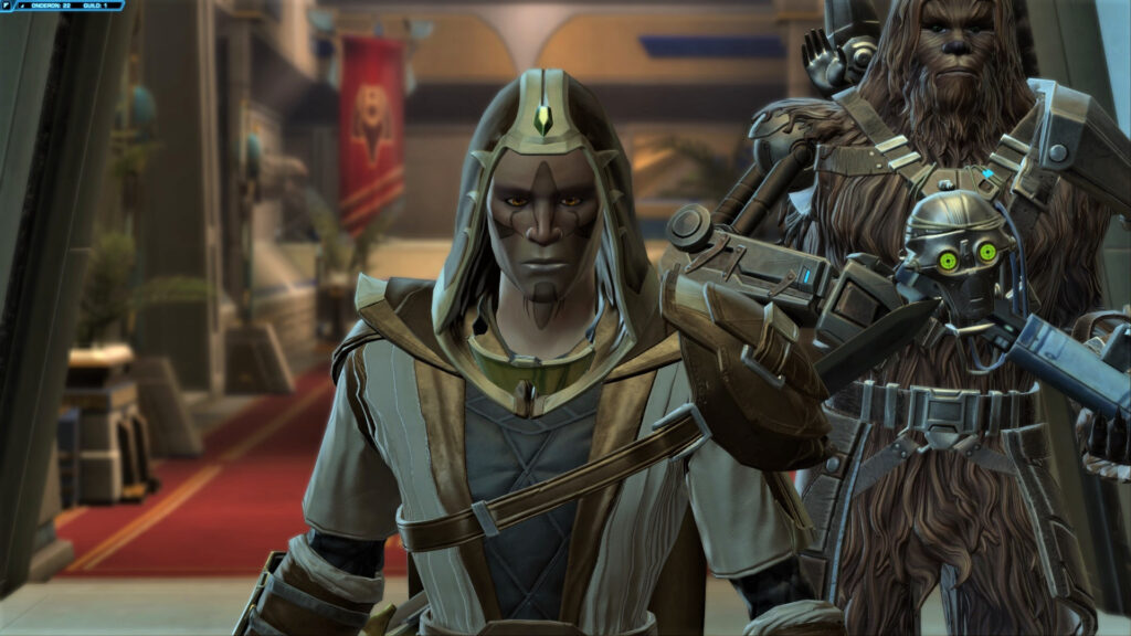 Cor-Jhan with Jakarro and C2-D4 as companions in SWTOR's Onslaught