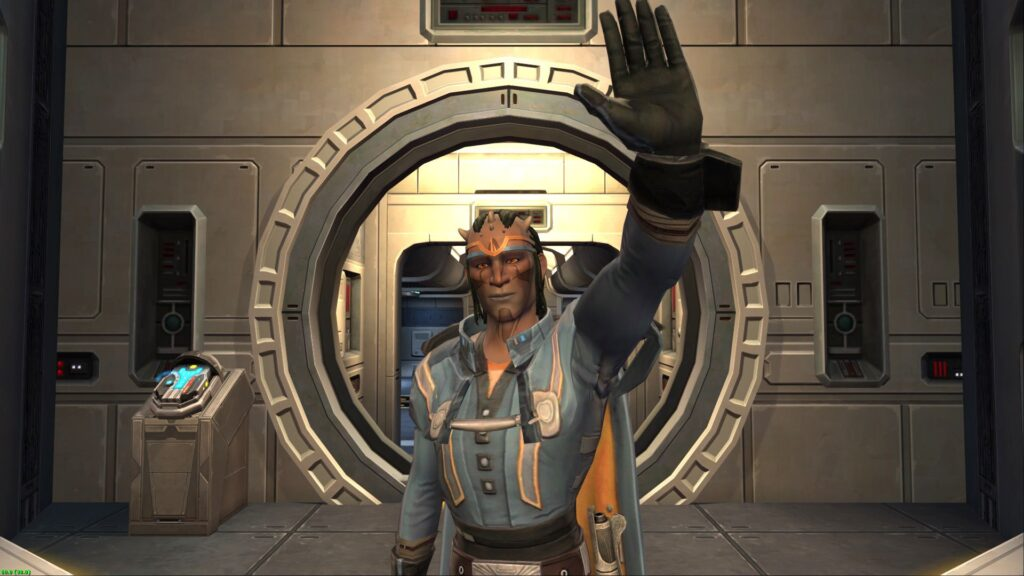 Cor-Jhan (my SWTOR Jedi Shadow) waves from the Consular Ship
