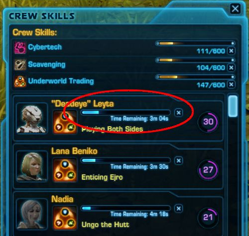 You can see how much time is left before a companion completes a Crew Skills Mission