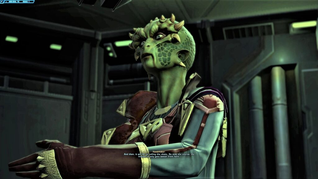 Huttbreaker gives a speech at an Auction on Mek-Sha