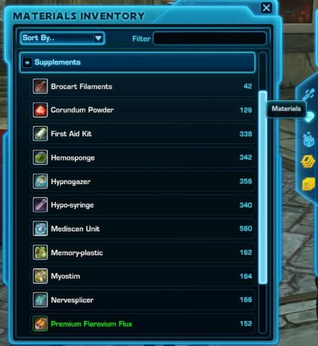 Crafting Supplements can be found in the Materials Tab of Inventory