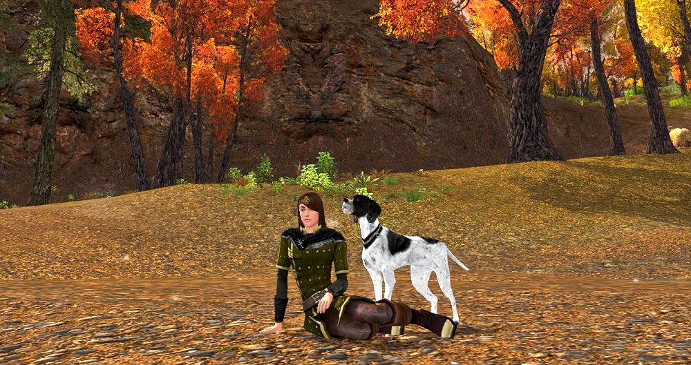 Glinmaethor and her dog at the Ford of Bruinen