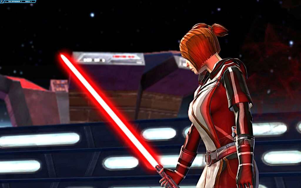 Possessed Kira takes up Angral's red Lightsaber to fight the Jedi Knight