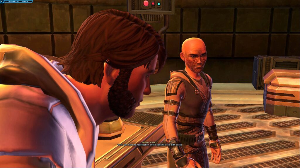 Jedi Master Yonlach wipes his Apprentice's mind in the Sith Warrior story on Tatooine