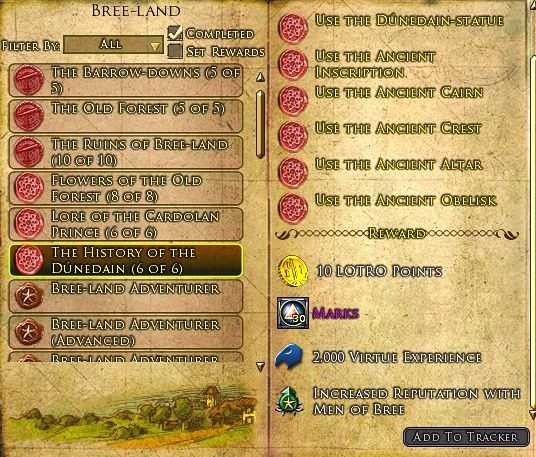 LOTRO HIstory of the Dunedain Deed Rewards