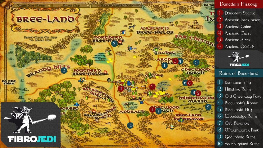 LOTRO History of the Dúnedain and Ruins of Bree-land Deeds Map