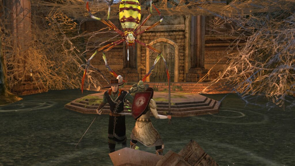 You can encounter a huge spider queen underneath Marshwater Fort in the LOTRO Epic