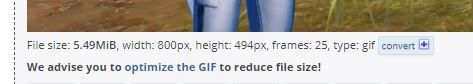 We advise you to optimise the GIF