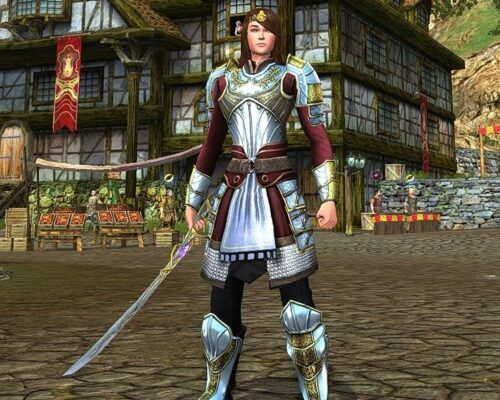 Ceremonial Breastplate, Pauldrons, Bracers and most of the Boots on a female human in LOTRO