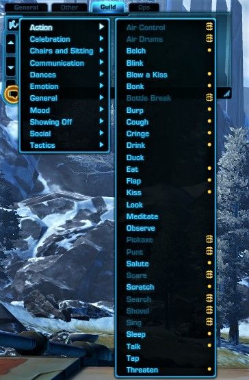 You can find your unlocked SWTOR emotes at the chat panel