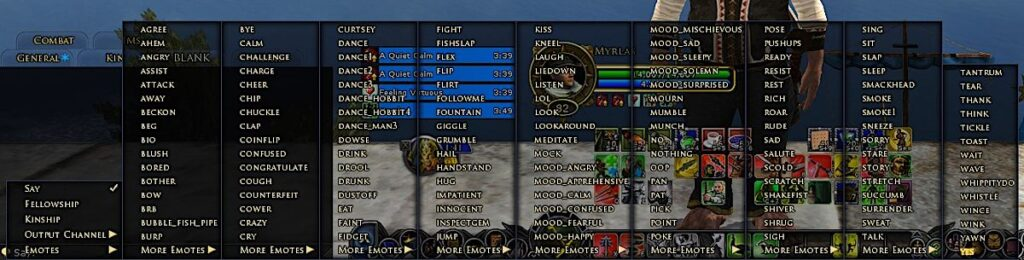 The list of LOTRO Emotes can be found from the In-Game Menu