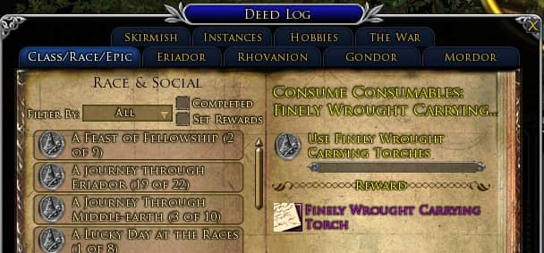 LOTRO Finely-Wrought Carrying Torches Consumables Deed
