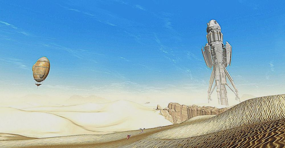 The Rakghoul Tunnel tower in the Dune Sea on Tatooine