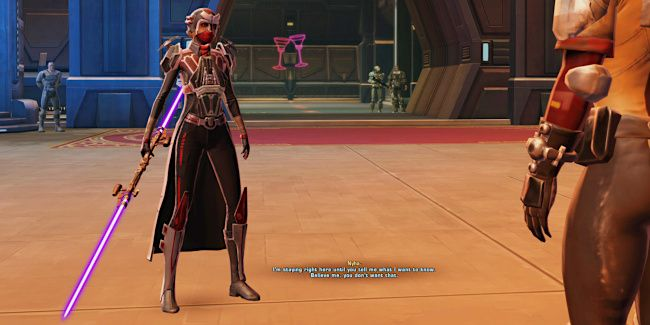 My Sith Assassin threatens a Bounty Target informant