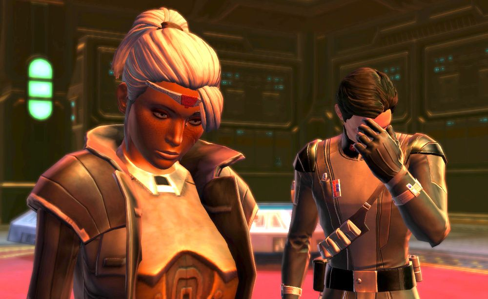 One of my SWTOR Sith Warriors and Malavai Quinn - Facepalm Emote in Despair!