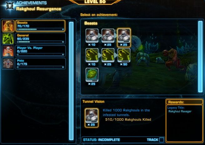 You can earn SWTOR titles for completing Rakghoul Resurgence Achievements