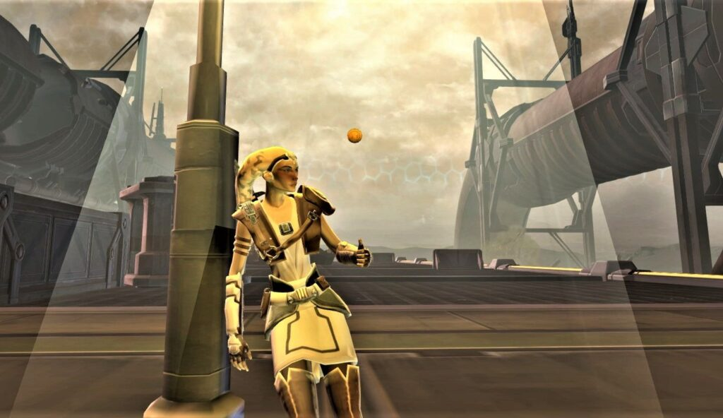Talitha'koum leaning against a lamppost in the Corellia Flashpoint in SWTOR