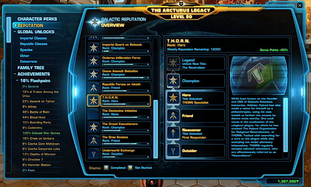 THORN Reputation Rank in the SWTOR Legacy Panel
