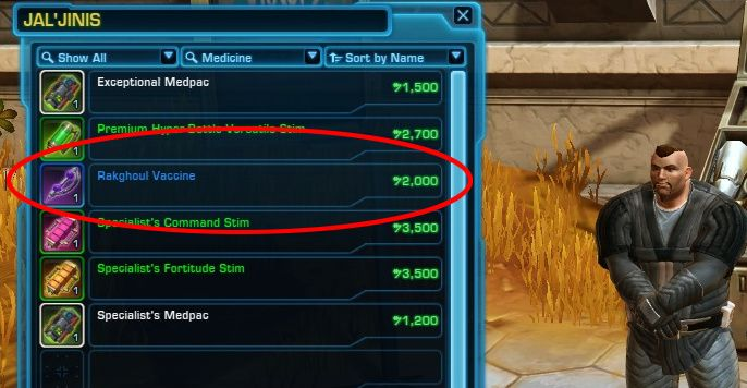 Where can I get Rakghoul Serum from for credits? Med Droids and Stims Vendors across the Galaxy, actually!