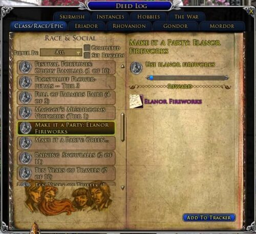 Make It a Party - Elanor Fireworks Deed, LOTRO