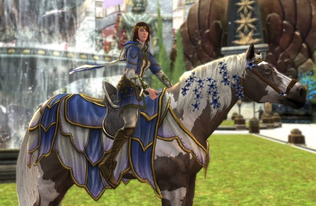 LOTRO War-Steed Caparison and Headpiece of Entwining Blossoms, LOTRO Midsummer War-Steed Cosmetics