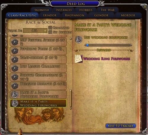 Make it a Party - Wedding Ring Fireworks Deed, LOTRO