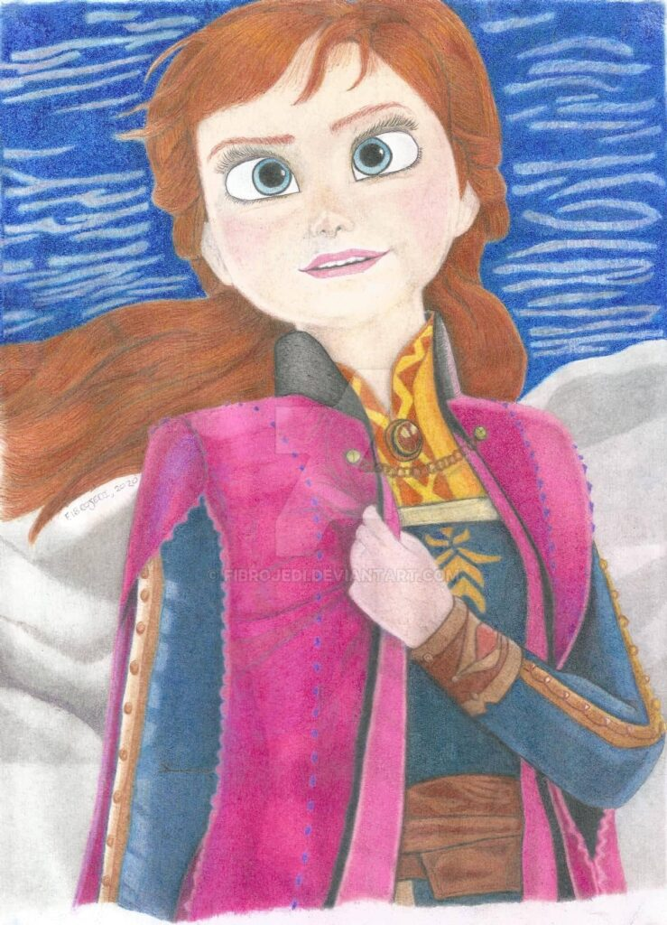 Anna from Frozen 2, Coloured Pencil Drawing