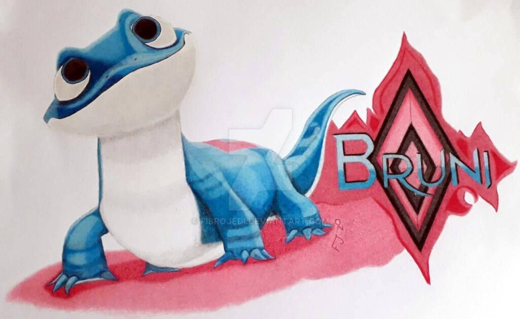 Frozen 2 Fire Spirit Drawing, the Salamander called Bruni