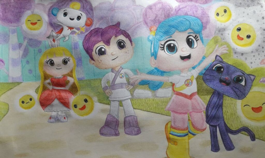True and the Rainbow Kingdom crayon drawing by FibroJedi