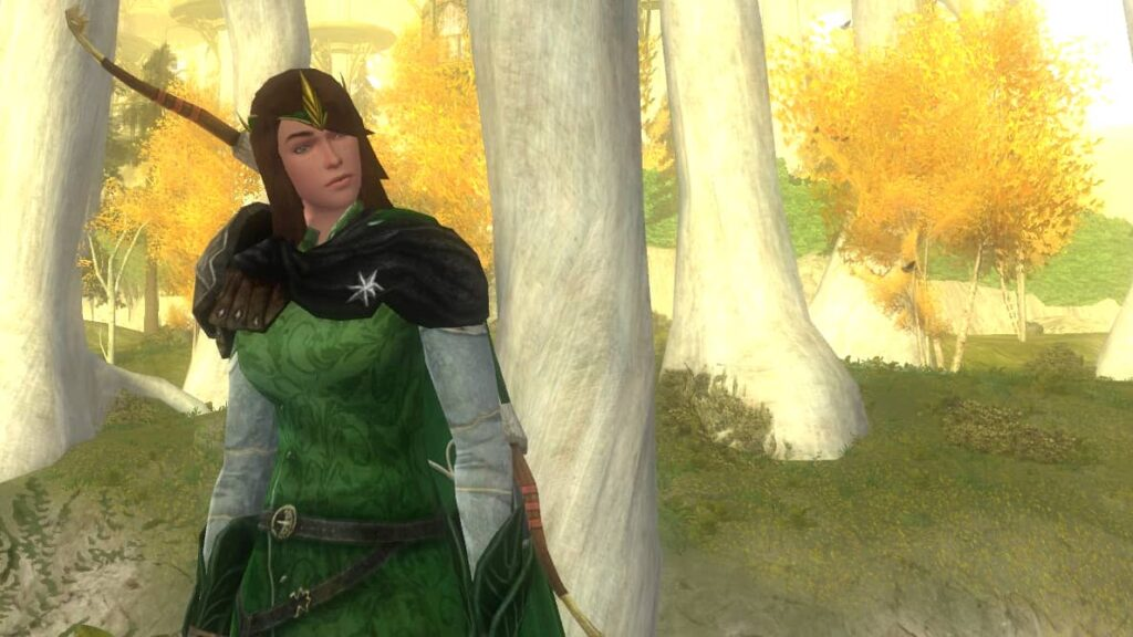 Elf at Heart LOTRO Outfit - Listen Emote in the Golden Wood