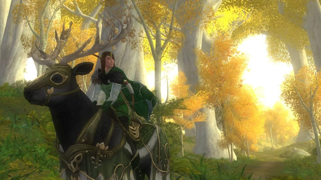 Here's my Elven Outfit for a Woman in LOTRO, riding the Elk of the Spring Wood