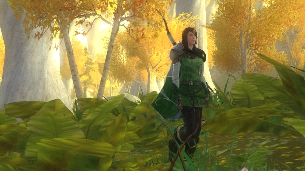 My LOTRO Guardian walking through the Golden Wood in her Elven Outfit