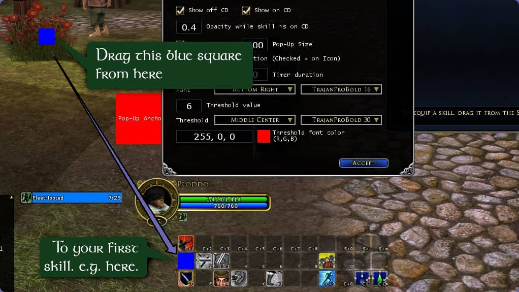 Thend rag the blue square over your first combat ability