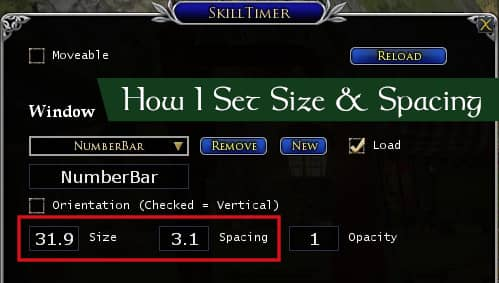 How I set skill size and spacing for the abilities to track LOTRO cooldown