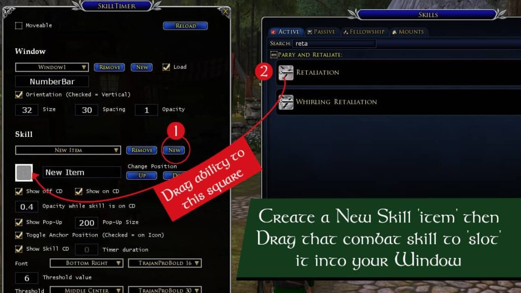 Hit create new under skills then drag a combat ability from the abilities panel to start displaying its cooldown