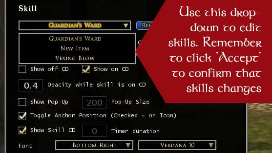 Editing a combat Skill's Cooldown Settings