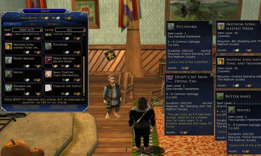 Cosmetics for LOTRO outfits may be acquired from reputation vendors (this is the Mathom Society vendor)